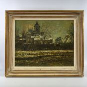 "Mid-20th century oil on board, impressionist town scene, unsigned, 19"" x 24"", framed Good condition"