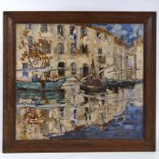 Early 20th century oil on canvas, impressionist Italian harbour scene, signed with monogram MN,