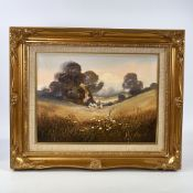"John Horswell, oil on canvas, landscape, signed, 12"" x 16"", framed Good condition"