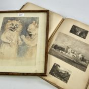 "After Louis Wain, hand coloured print, cats, 12"" x 8.5"", and a album of 19th century prints and"