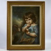 "After John Russell, pastels on board, child with a dog, modern, 24"" x 17"", framed Good condition"