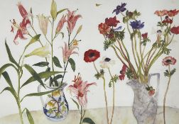 "Elizabeth Blackadder, colour print, anemones and lilies, 1995, signed in pencil, image 15"" x 20"","