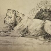 "Charcoal on paper, study of a lion, indistinctly signed, dated 1913, 10.5"" x 17.5"", unframed Paper"