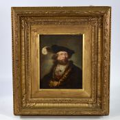 "18th/19th century oil on canvas laid on board, portrait of a gentleman, unsigned, 9"" x 7"", framed"
