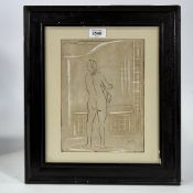 "Mid-20th century ink on paper, standing nude, signed with monogram HM, 10"" x 7.5"", framed Slight"
