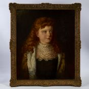 19th century oil on canvas, half length portrait of a girl with red hair, indistinctly signed and