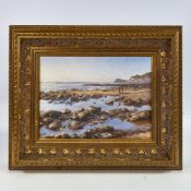 "Oil on board, beach scene Isle of Wight, signed with monogram SMC, 9"" x 12"", framed, modern Very"