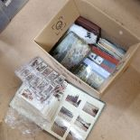 A quantity of various cigarette cards, First Day Cover postage stamps, postcards etc (boxful)
