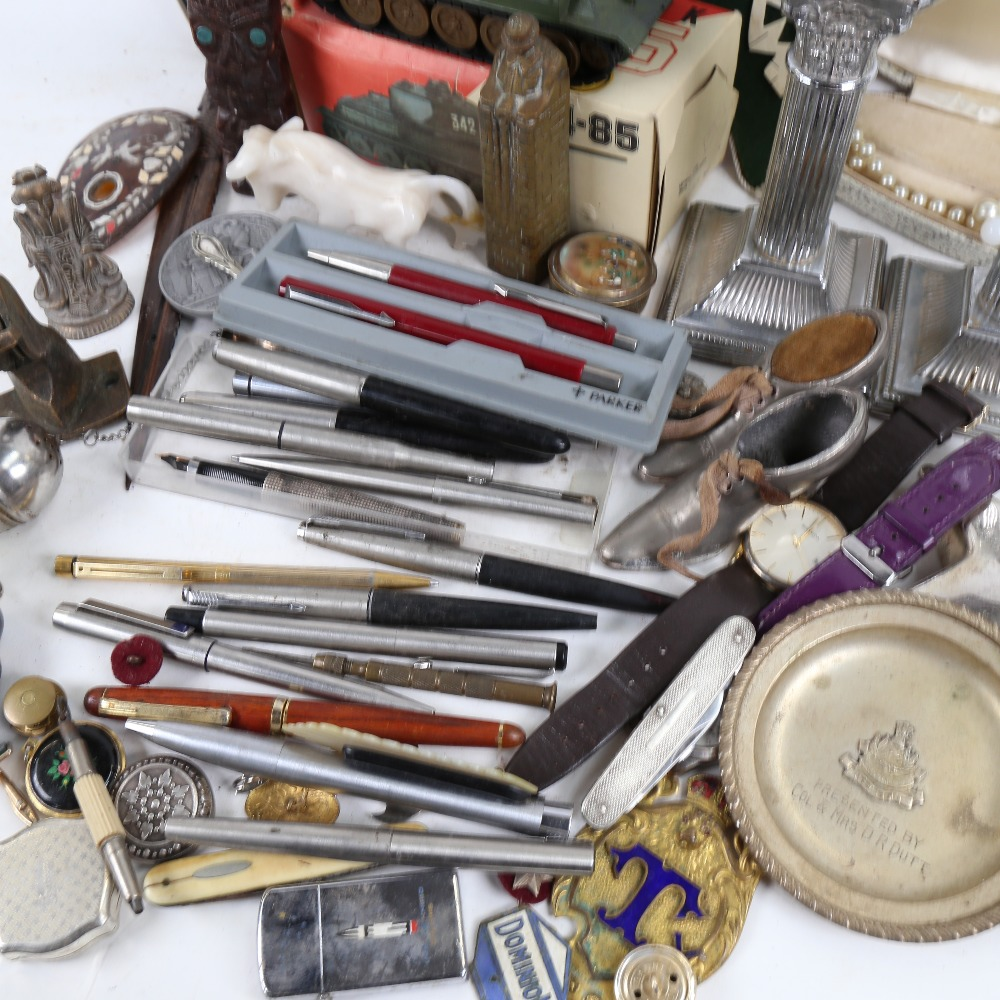Fountain pens, ballpoint pens, candlesticks, shoe pin cushion, boxed model tank, figures and other - Image 2 of 2