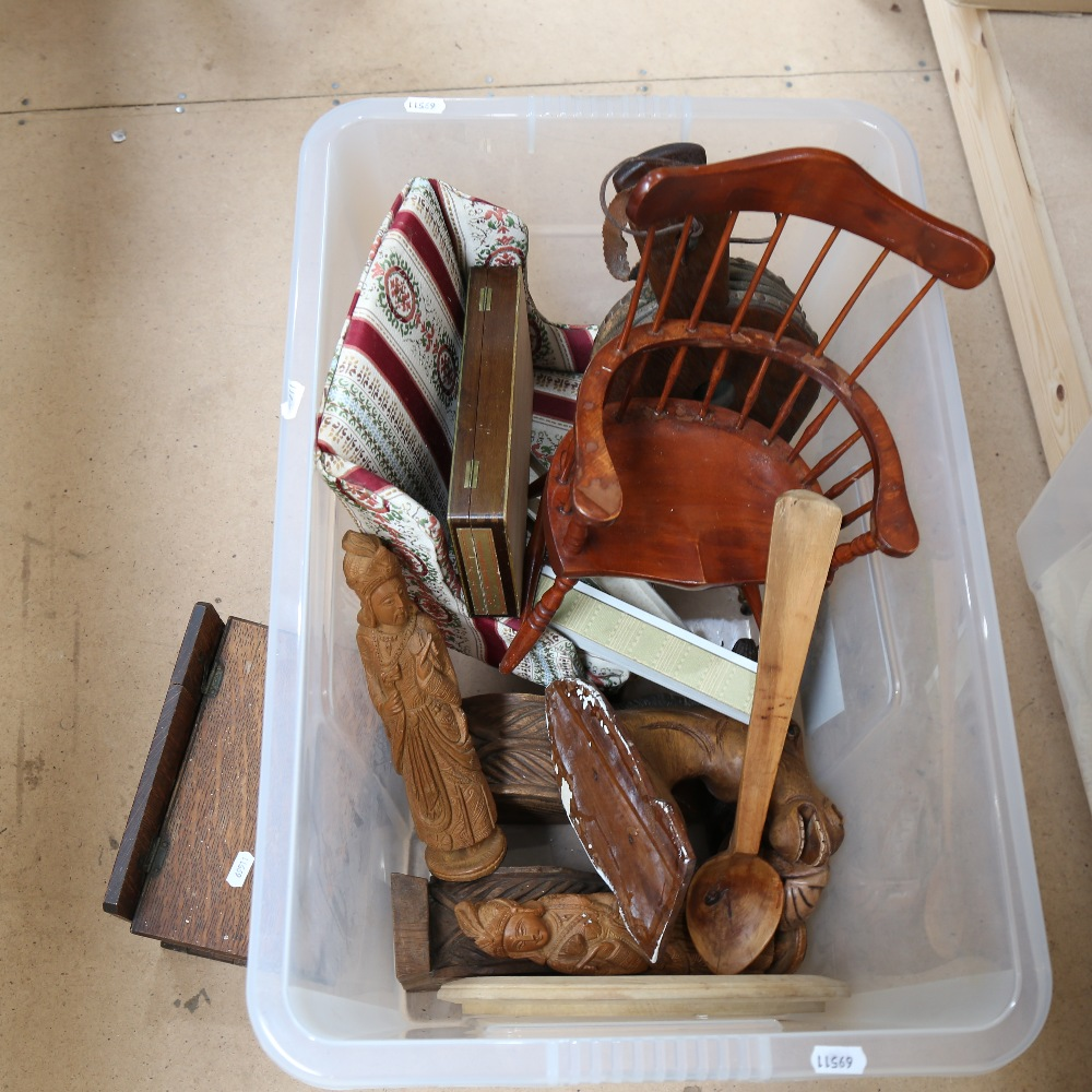 2 doll's chairs, oak candle box, pair of oak bellows etc (boxful) - Image 2 of 2
