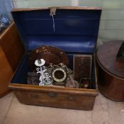 A Vintage metal travel trunk, containing a clock, 2 mirrors, bellows, a copper dish, a pair of small