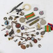 Various collectables, including Second World War Service medals, silver salt spoon, silver and