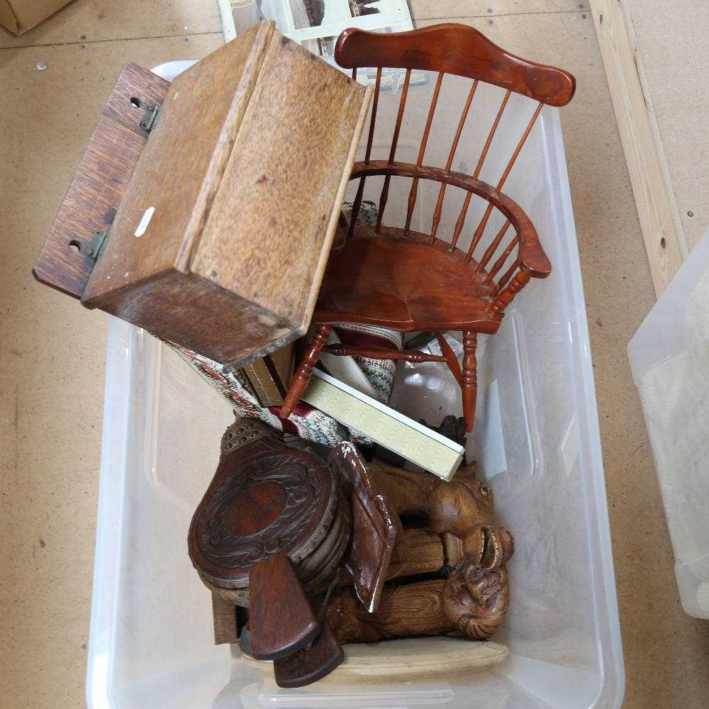2 doll's chairs, oak candle box, pair of oak bellows etc (boxful)