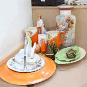 Art Deco jugs, Edwardian painted glass vase, 31cm, Carlton Ware vegetable design cruet etc