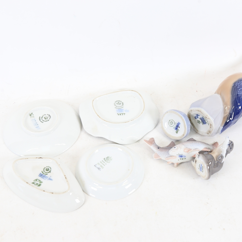 Various Royal Copenhagen porcelain, including 2257 Kingfisher, 2333 Otter, 2477 Frog lily pad dish - Image 2 of 2