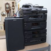 A Sony stacking hi-fi system, including turntable, CD player, equaliser, radio, and tape player,
