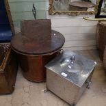 A 2-handled copper pot on feet, with wooden cover, a Vintage chrome coal box with liner, height