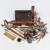Various collectables, including Rabone spirit level, bobbins, chessmen, wall plaque, souvenir spoons