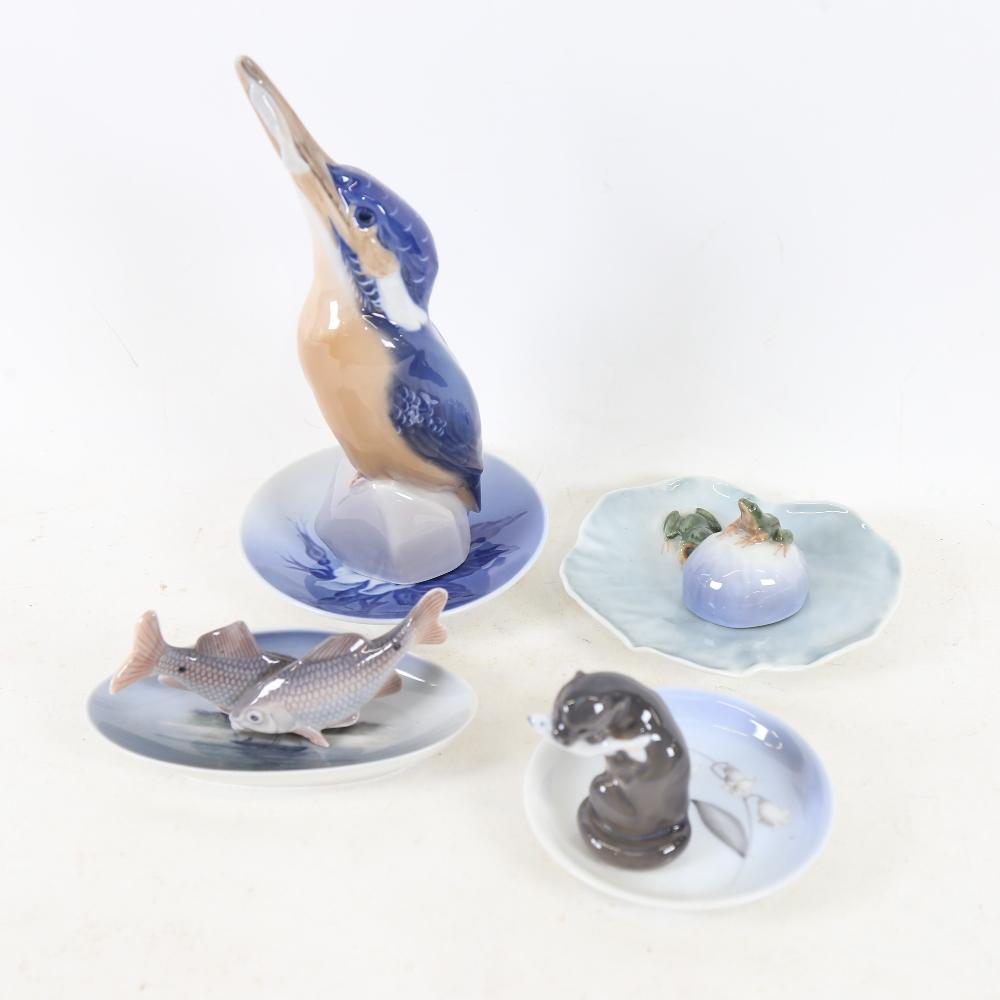 Various Royal Copenhagen porcelain, including 2257 Kingfisher, 2333 Otter, 2477 Frog lily pad dish
