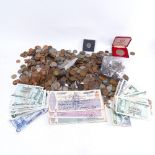 Various British coins and banknotes, including early 20th century draft notes, crowns, shillings etc