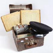 A Vintage Almex Model A railway ticket recorder machine, in original case with manuals, 3