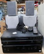 DENON - a Vintage 2-piece stacking hi-fi system, comprising precision audio component/integrated