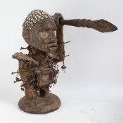 An African Tribal nail fetish idol figure, Nkisi Nkondi (Republic of Congo), oversized head set with