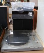 SONY - a micro hi-fi component system model CMT-MX550i, automatic stereo turntable system model PS-