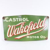 An Antique green red and white enamel Castrol Wakefield Motor Oil advertising sign, 34cm x 57cm