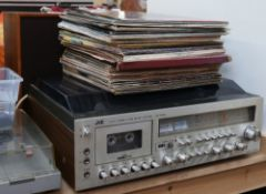 JVC - a Vintage hi-fi 3-in-1 music centre model MF-1845L, and WHARFEDALE - a pair of Denton 2XP