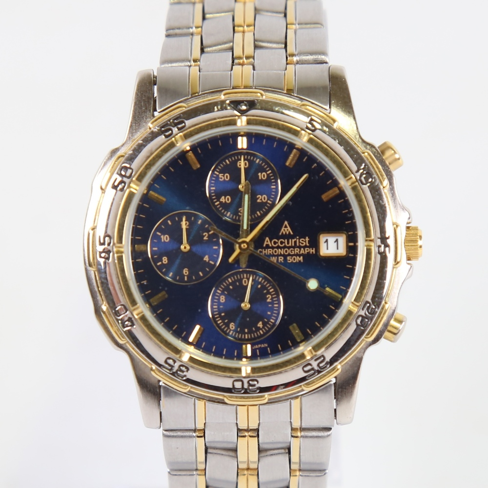 ACCURIST - a gold plated and stainless steel WR50M quartz chronograph wristwatch, ref SR927W, blue
