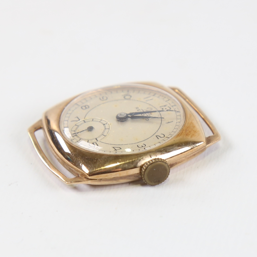 RECORD - a Vintage 9ct gold mechanical wristwatch head, silvered dial with Arabic numerals and - Image 2 of 5