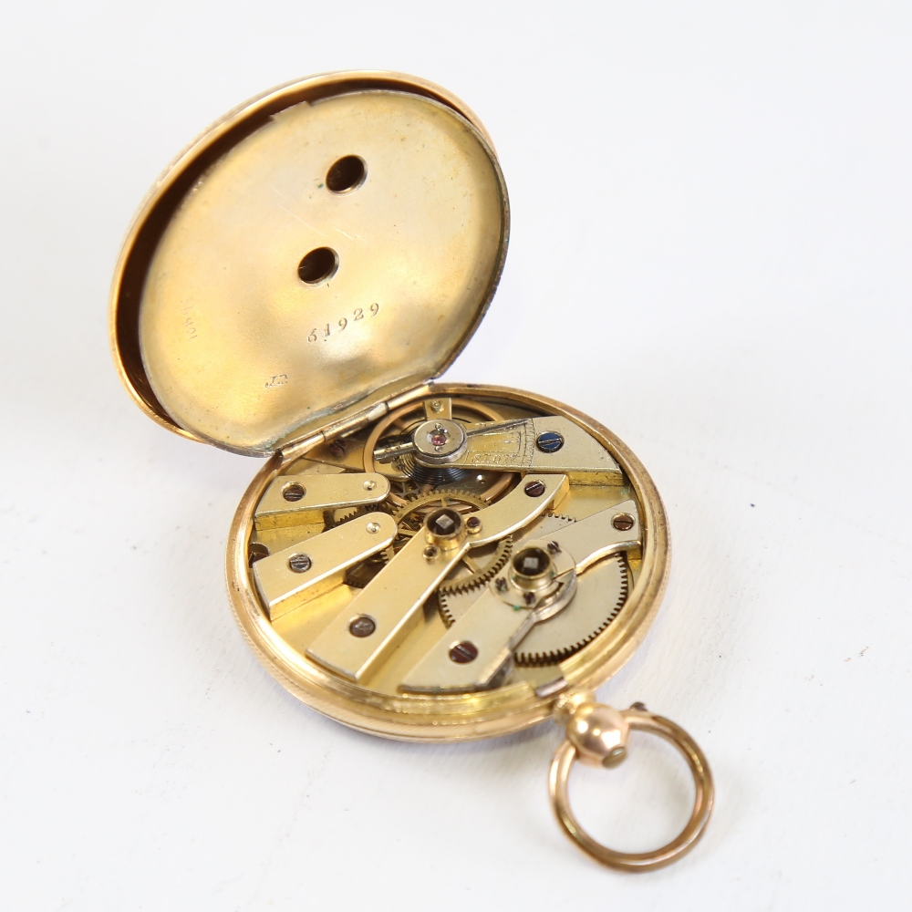 A Swiss 18ct gold open-face keywind pocket watch, by Hallett of Hastings, floral engraved and - Image 4 of 5