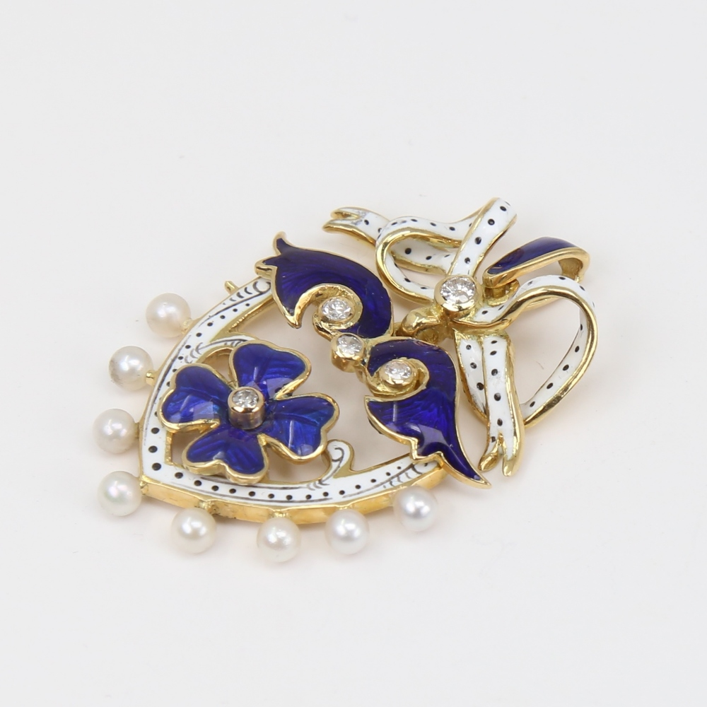 An Antique pearl diamond and enamel shield pendant, unmarked gold settings with four leaf clover - Image 2 of 5