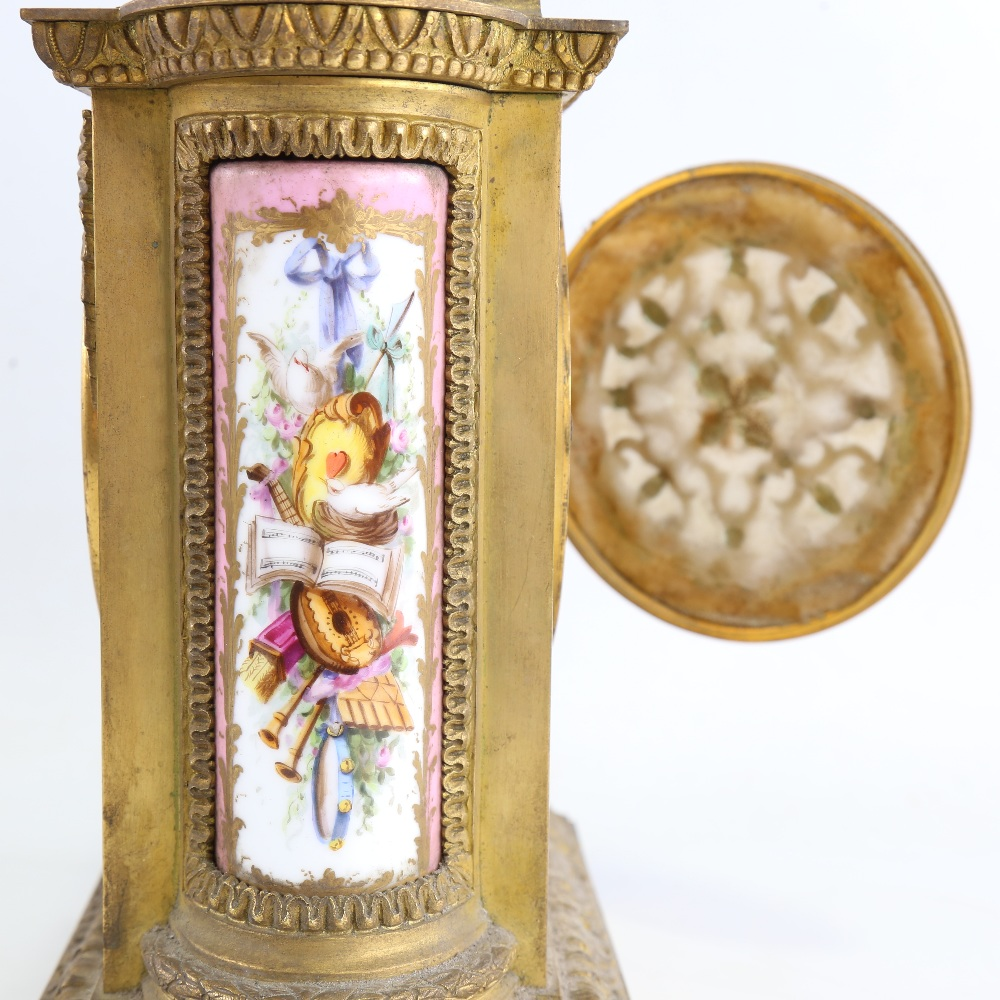 A French gilt-brass and Sevres Rose Pompador porcelain panel 8-day mantel clock, by Charles - Image 5 of 5