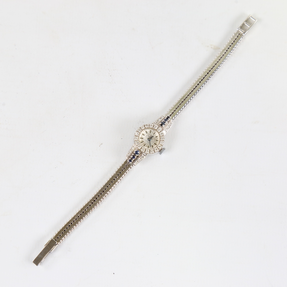 A lady's Vintage 18ct white gold diamond and sapphire mechanical cocktail wristwatch, brushed - Image 2 of 5