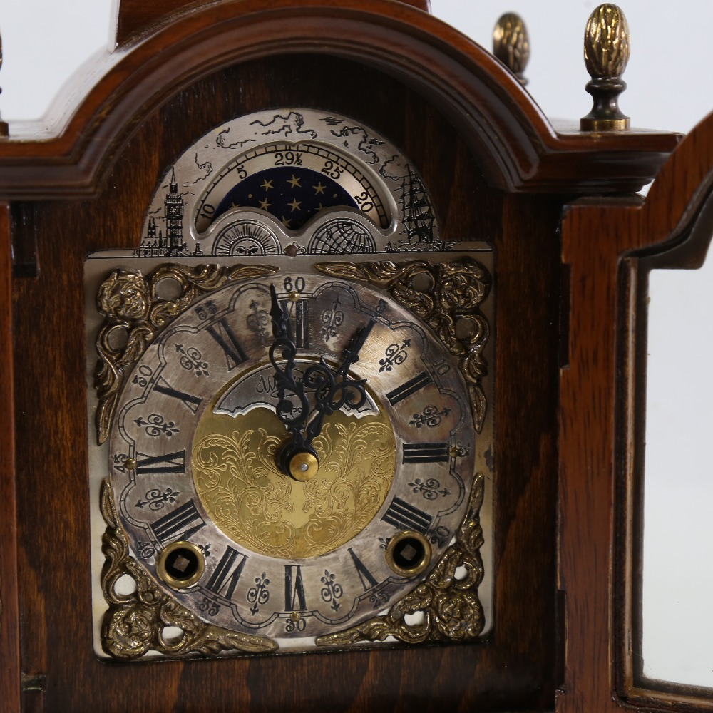 A Georgian style reproduction walnut-cased 8-day dome-top bracket clock, by Warmink Wuba, brass - Image 2 of 5