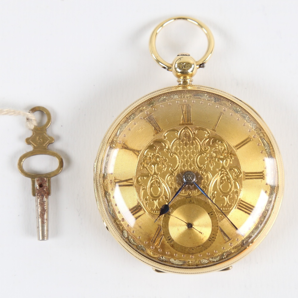 A 19th century 18ct gold cased open-face keywind pocket watch, by Peter Cattaneo of Croydon,