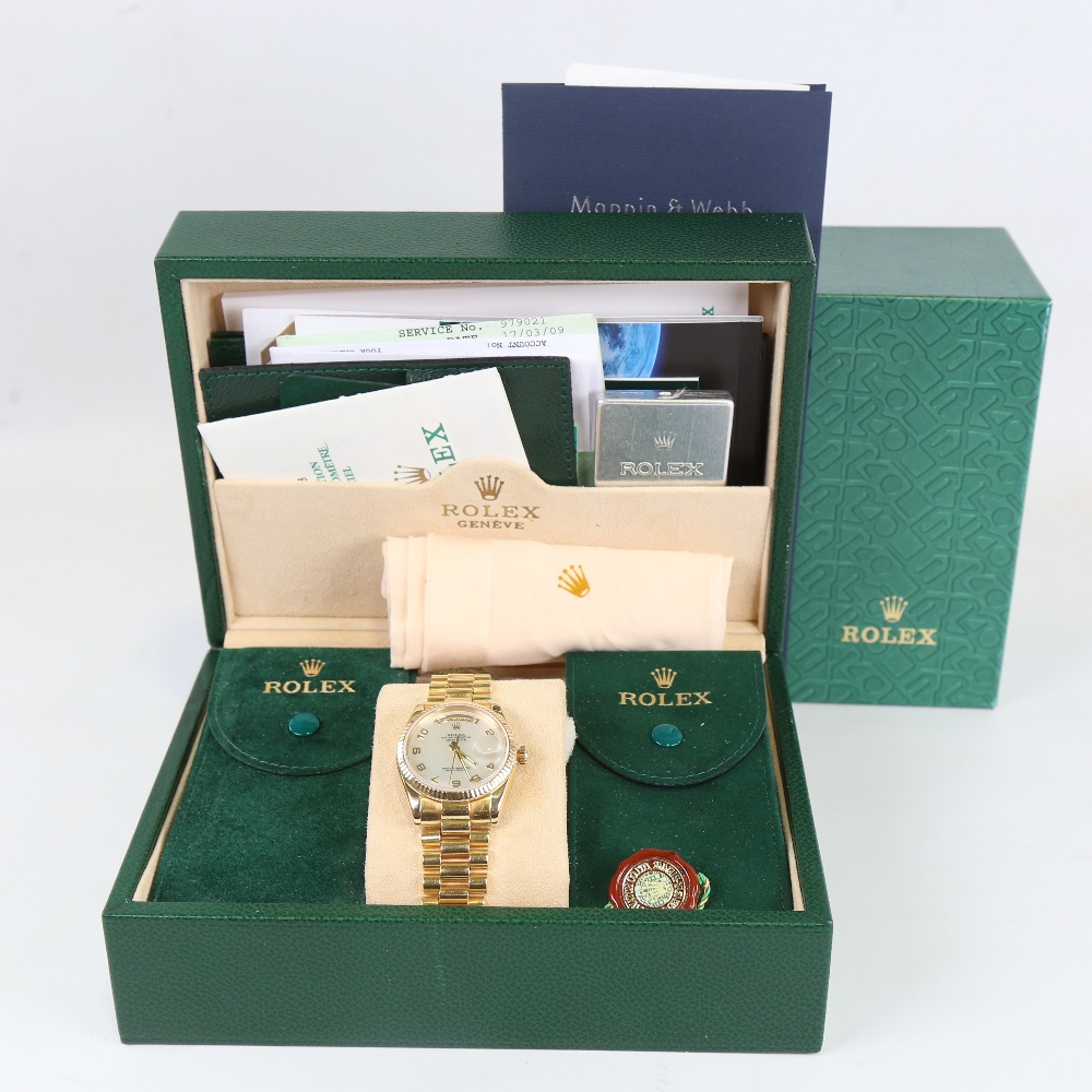 ROLEX - an 18ct gold Oyster Perpetual Day-Date automatic wristwatch, ref. 118238, circa 2001, - Image 5 of 5