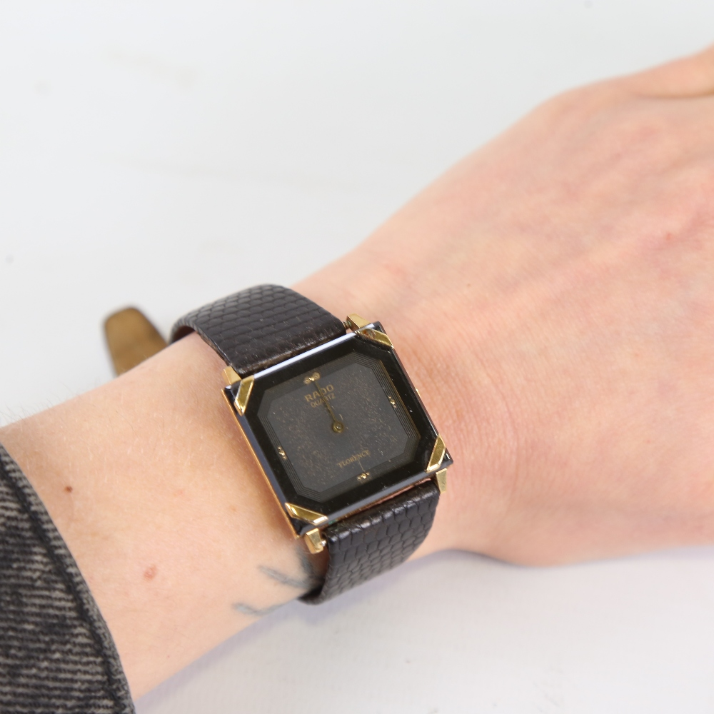 RADO - a gold plated stainless steel Florence quartz wristwatch, ref. 121.3365.2, square black - Image 5 of 5