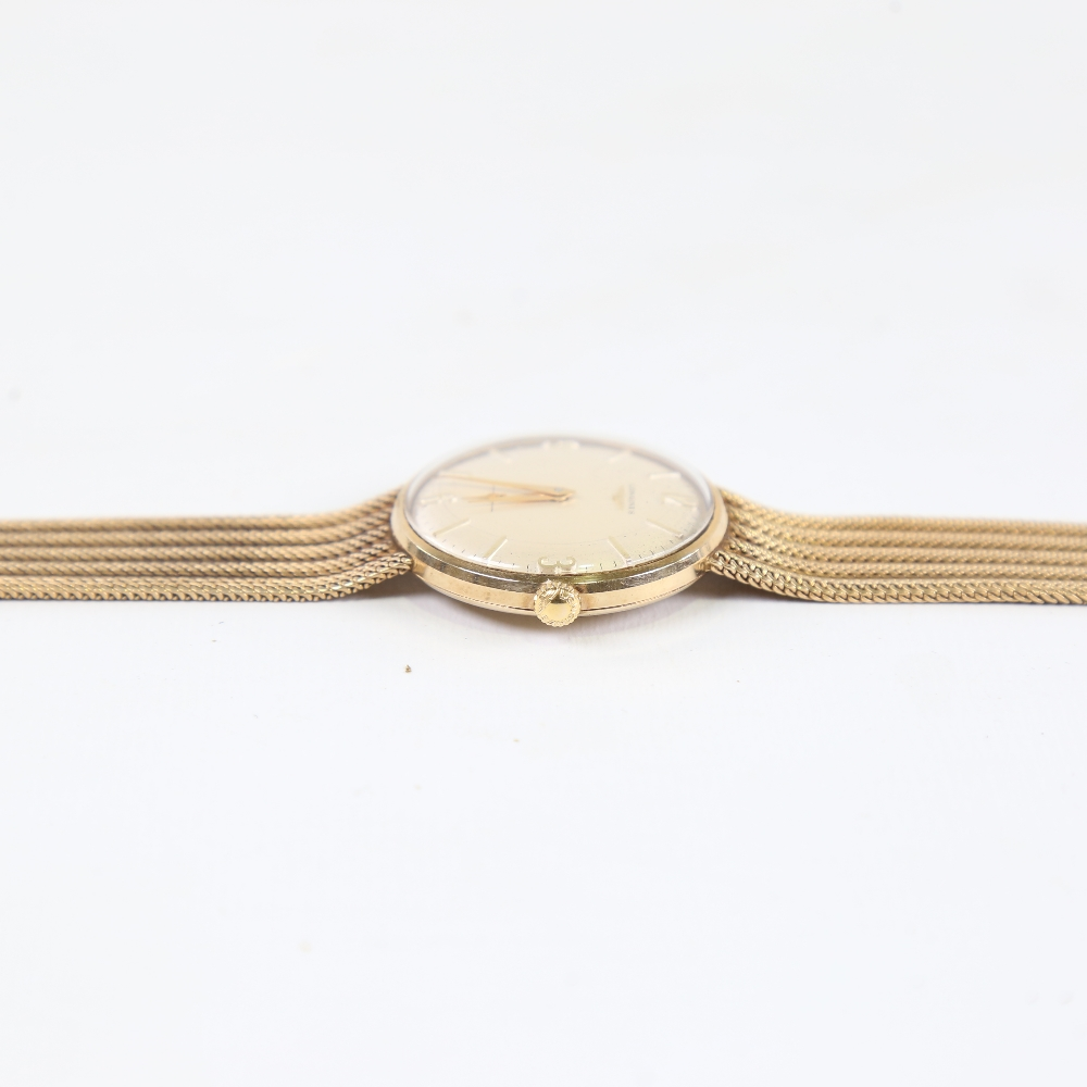 LONGINES - a Vintage 9ct gold mechanical wristwatch, circa 1966, silvered dial with quarterly gilt - Image 4 of 5