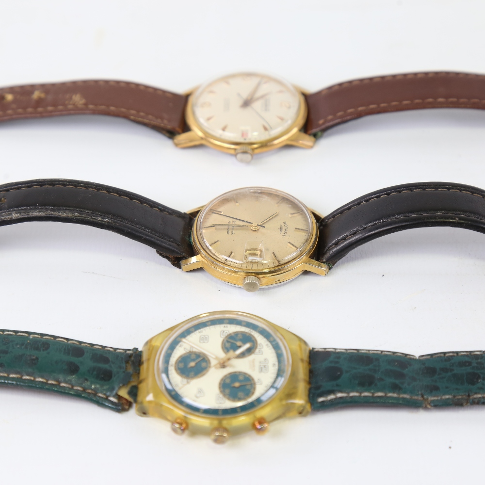 3 Vintage wristwatches, comprising Swatch, Ramona automatic, and Rotary automatic, both automatics - Image 4 of 5