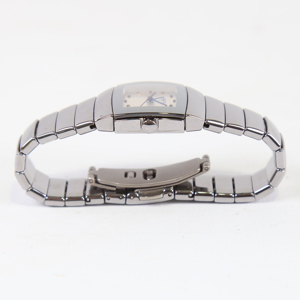 RADO - a lady's ceramic DiaStar quartz wristwatch, ref. 318.0722.3, silvered dial with blued steel - Image 4 of 5