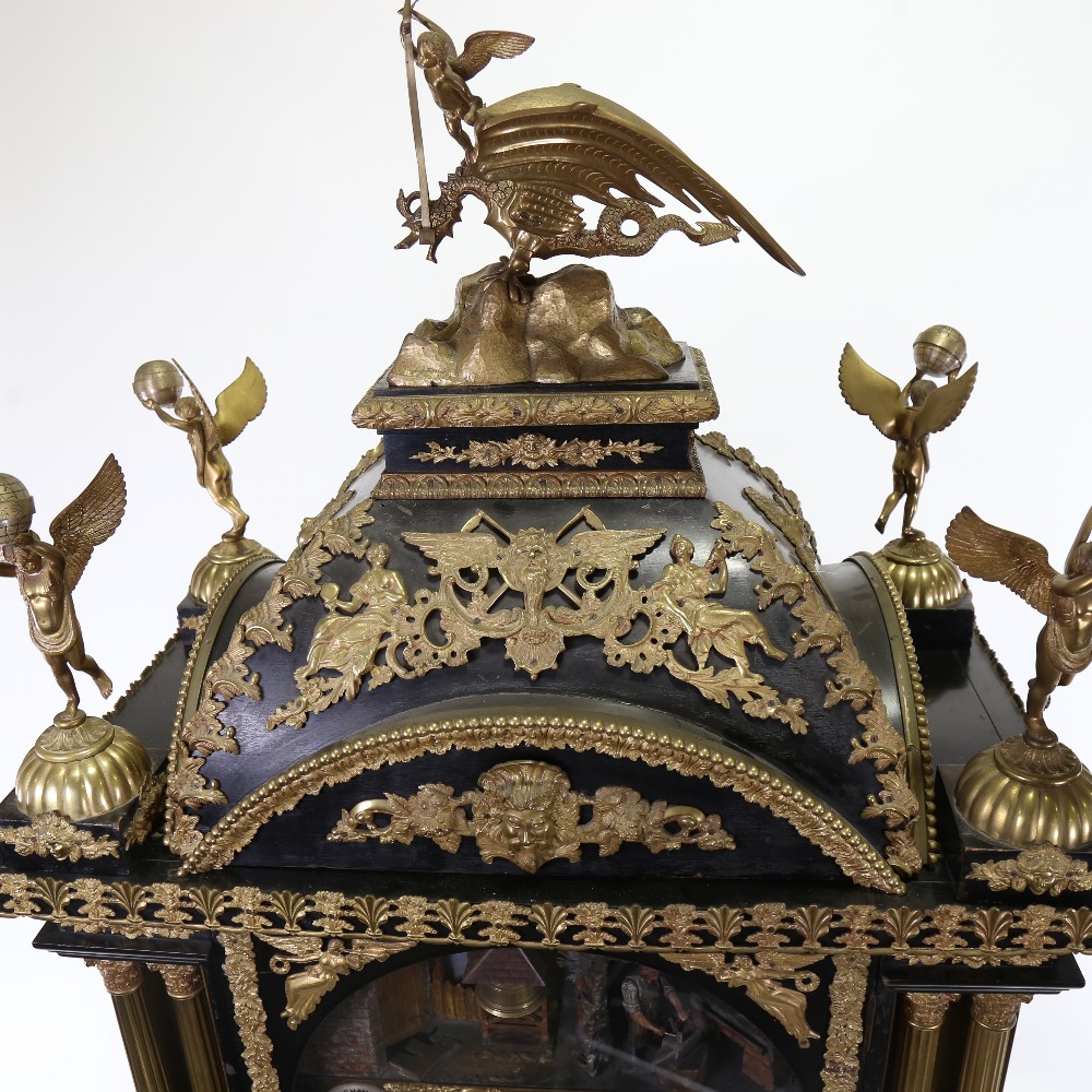 A spectacular 19th century quarter chiming English Exhibition table clock with automata, - Image 41 of 51