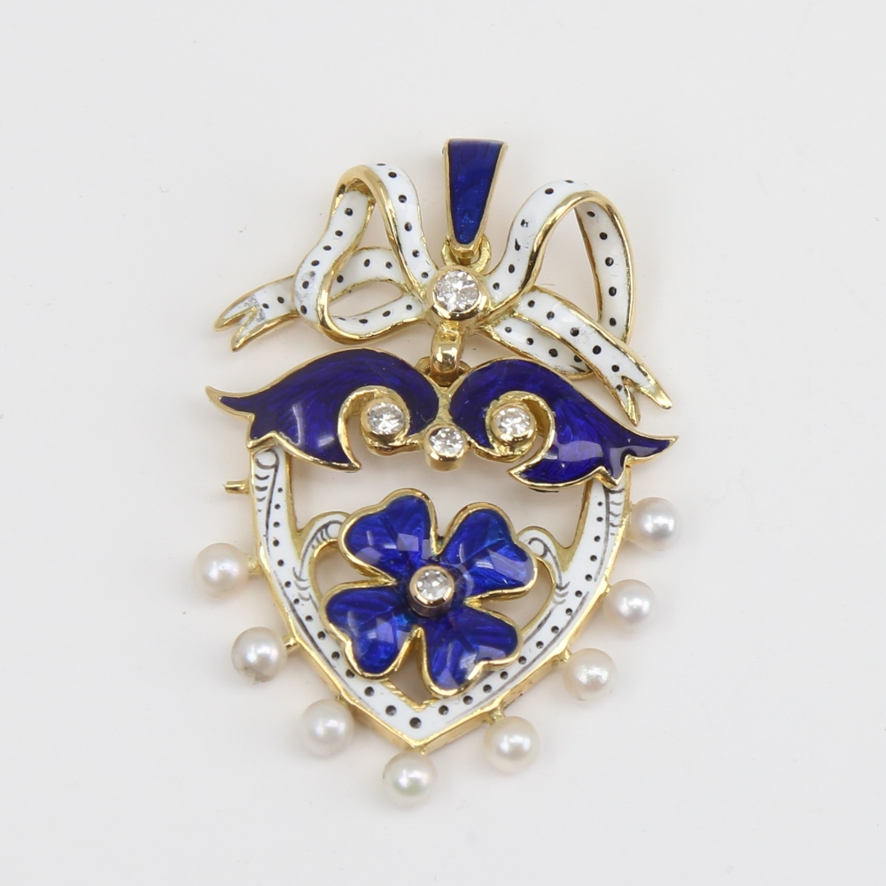 An Antique pearl diamond and enamel shield pendant, unmarked gold settings with four leaf clover