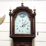 A George III walnut 8-day longcase clock, by Obadiah Coleman of Bristol, white painted dial with