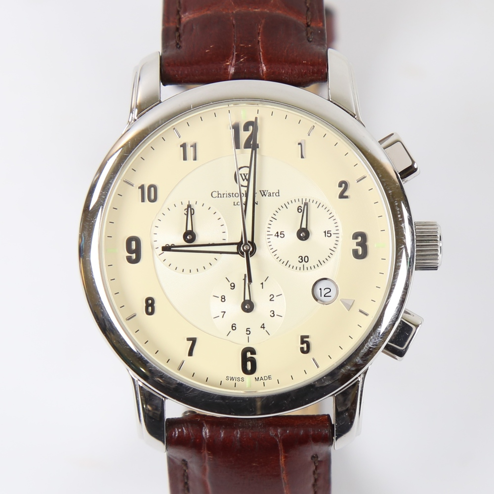 CHRISTOPHER WARD - a stainless steel C3 Malvern quartz chronograph wristwatch, ref. C3SWT, circa