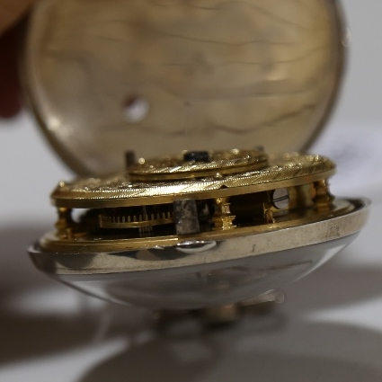 An 18th century silver pair-cased open-face keywind Verge pocket watch, white enamel dial with - Image 10 of 19