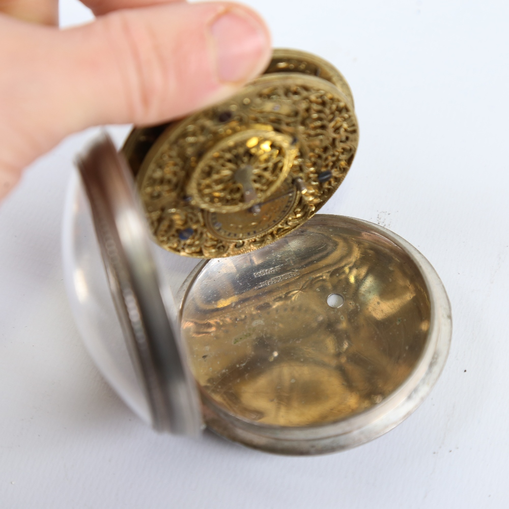 An 18th century German pair-cased open-face keywind Verge pocket watch, white metal case with blonde - Image 5 of 5