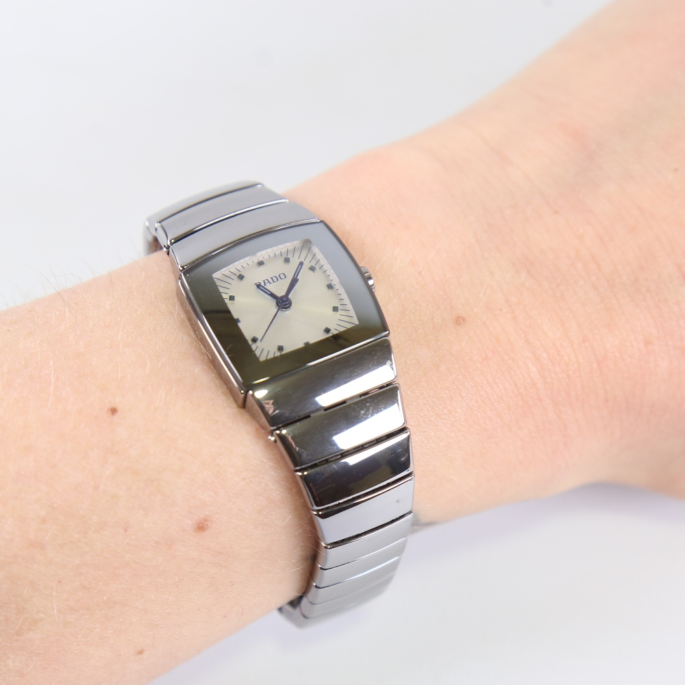 RADO - a lady's ceramic DiaStar quartz wristwatch, ref. 318.0722.3, silvered dial with blued steel - Image 5 of 5